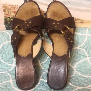 Michael Kors Shoes - Michael Kors Wood-Sole Brown Leather Sandals